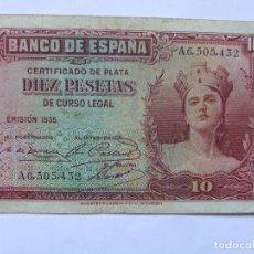 Banconote spagnole: BILLETE DIEZ 10 PESETAS CERTIFICADO DE PLATA EMISION 1935 IMPRESO POR BRADBURY Y WILKINSON. Lote 161197126