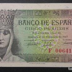 Billetes españoles: BANCO DE ESPAÑA BILLETE 5 PESETAS 1943 SC SERIE F. Lote 161284982