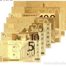 Billetes españoles: COLECCION 7 BILLETES LAMINADOS EN ORO 24KT - ESPAÑA EUROS - VER FOTOS Y DESCRIPCION. Lote 161485230