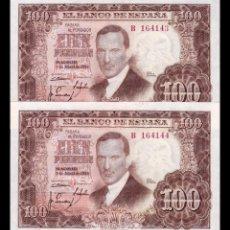 Billetes españoles: ESPAÑA PAREJA 100 PESETAS J ROMERO DE TORRES 1953 PICK 145 SERIE B SC UNC. Lote 161814586