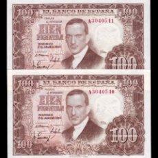 Billetes españoles: ESPAÑA PAREJA 100 PESETAS J ROMERO DE TORRES 1953 PICK 145 SERIE A SC UNC. Lote 161814686