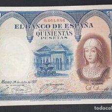 Billetes españoles: BILLETE 500 PESETAS 1927 NUMERO BAJO ISABEL LA CATOLICA. Lote 162038834