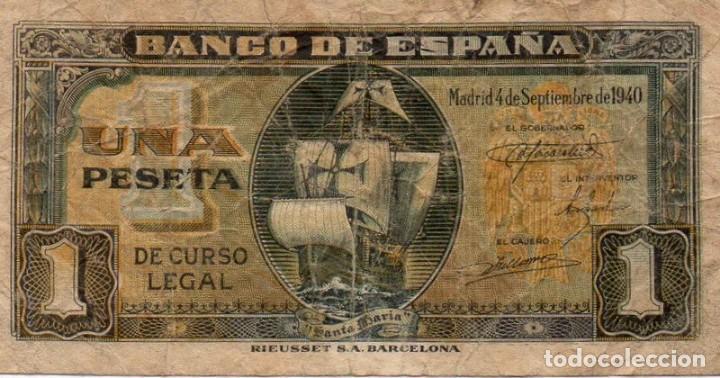 BILLETE DE 1 PESETA DEL 4 DE SEPTIEMBRE DE 1940 DE LA CARAVELA SERIE A (Numismática - Notafilia - Billetes Españoles)