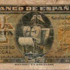 Billetes españoles: BILLETE DE 1 PESETA DEL 4 DE SEPTIEMBRE DE 1940 DE LA CARAVELA SERIE A. Lote 162285774