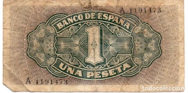 Billetes españoles: BILLETE DE 1 PESETA DEL 4 DE SEPTIEMBRE DE 1940 DE LA CARAVELA SERIE A - Foto 2 - 162285774