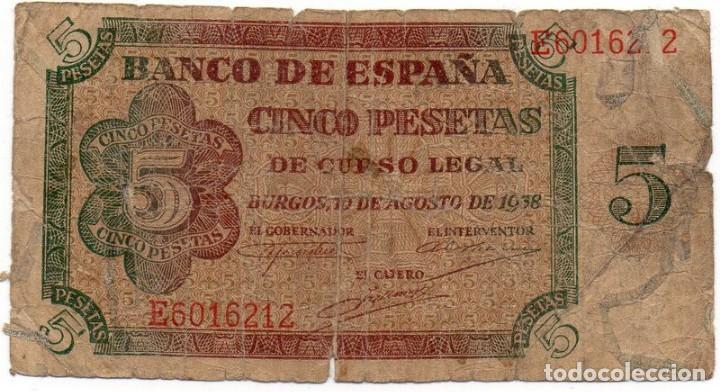 5 PESETAS 10 AGOSTO 1938 BURGOS SERIE E (Numismática - Notafilia - Billetes Españoles)