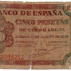 Billetes españoles: 5 PESETAS 10 AGOSTO 1938 BURGOS SERIE E. Lote 162286350