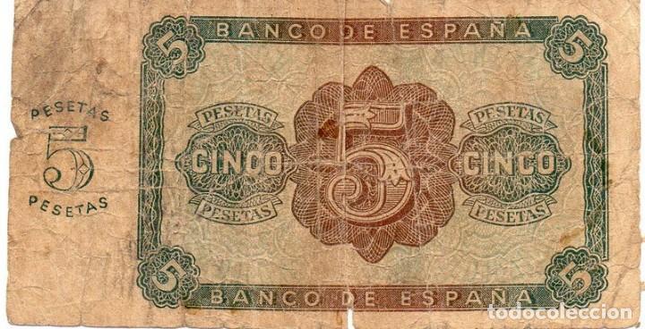 Billetes españoles: 5 PESETAS 10 AGOSTO 1938 BURGOS SERIE E - Foto 2 - 162286350