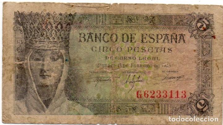 BILLETES - ESTADO ESPAÑOL - 5 PESETAS 1943 - SERIE G (Numismática - Notafilia - Billetes Españoles)