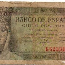 Billetes españoles: BILLETES - ESTADO ESPAÑOL - 5 PESETAS 1943 - SERIE G. Lote 162286682