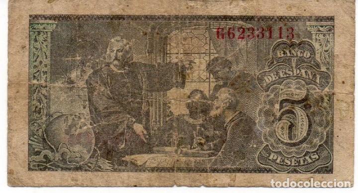 Billetes españoles: BILLETES - ESTADO ESPAÑOL - 5 PESETAS 1943 - SERIE G - Foto 2 - 162286682
