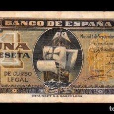 Billetes españoles: ESPAÑA SPAIN 1 PESETA CARABELA 1940 PICK 122 SERIE A BC F. Lote 162362966