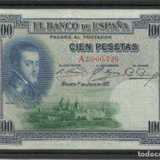 Billetes españoles: BILLETE DE 100 PTS DE 1925, CON SELLO DE LA REPUBLICA. SERIE A. Lote 162581582