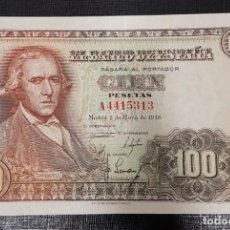 Billetes españoles: BILLETE 100 PESETAS 1948 SERIE A BAYEU. Lote 163075914