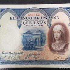 Billetes españoles: BILLETE 500 PESETAS 1927 SABEL LA CATOLICA. Lote 163076894