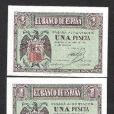 Billetes españoles: PAREJA CORRELATIVA 1 PESETA ABRIL 1938 SERIE C S/C. Lote 140405822