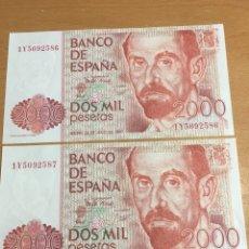 Billetes españoles: 2 BILLETES CORRELATIVOS 2000 PESETAS 1980 PLANCHA. Lote 163416294