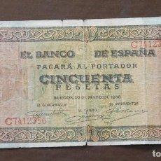 Billetes españoles: BILLETE 50 PESETAS BURGOS 1938 SERIE C . Lote 163418274