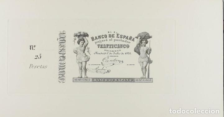 BANCO DE ESPAÑA. PRUEBA ANVERSO 25 PESETAS. 1 JULIO 1874 (Numismática - Notafilia - Billetes Españoles)