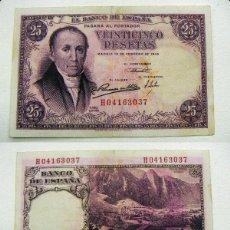 Billetes españoles: BILLETE DE 25 PESETAS DEL AÑO 1946 DE FLOREZ ESTRADA MBC SERIE H 04163037. Lote 163756442