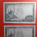 Billetes españoles: LOTE 2 BILLETES 1000 PESETAS CORRELATIVOS 1965 MBC+. Lote 163770346