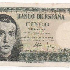 Billetes españoles: BILLETE 5 PESETAS. JAIME BALMES. 1951. Lote 163995338