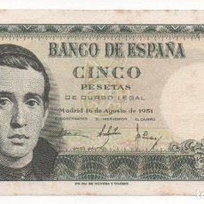 Billetes españoles: BILLETE 5 PESETAS. JAIME BALMES. 1951. Lote 163995630