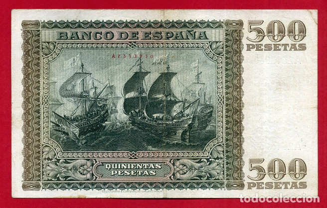 Billetes españoles: BILLETE 500 PESETAS ENERO 1940 , MBC+ , SERIE A , ORIGINAL , T930 - Foto 2 - 164057534