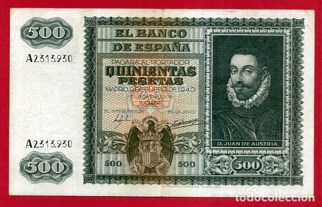 BILLETE 500 PESETAS ENERO 1940 , MBC+ , SERIE A , ORIGINAL , T930 (Numismática - Notafilia - Billetes Españoles)