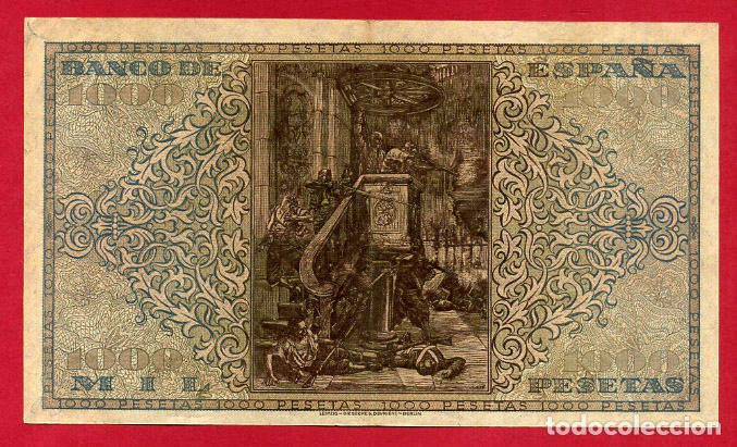 Billetes españoles: BILLETE 1000 PESETAS 1938 , MBC++ , SERIE A , ORIGINAL , T790 - Foto 2 - 164072814