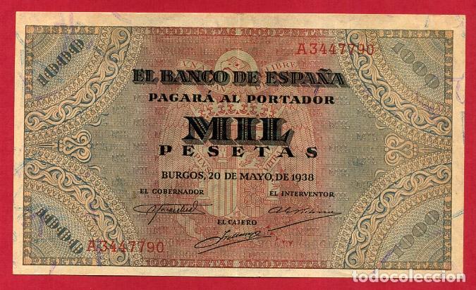 BILLETE 1000 PESETAS 1938 , MBC++ , SERIE A , ORIGINAL , T790 (Numismática - Notafilia - Billetes Españoles)