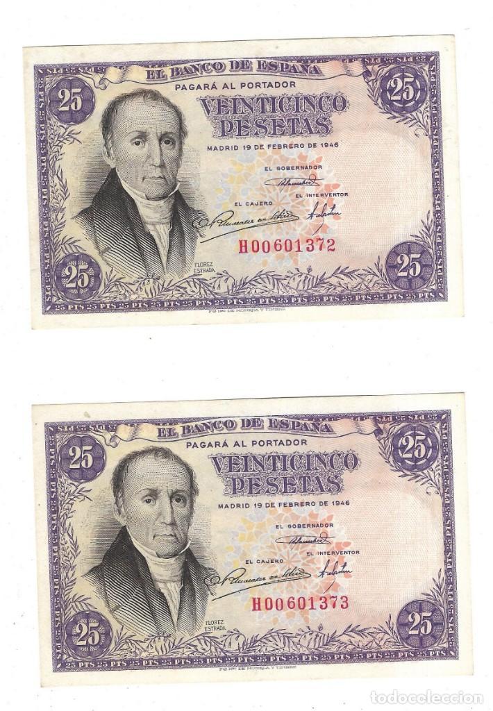 LOTE DE DOS BILLETES CORRELATIVOS. BANCO DE ESPAÑA. 25 PESETAS. 1946. FLOREZ ESTRADA. VER. PLANCHA (Numismática - Notafilia - Billetes Españoles)