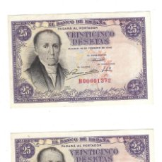 Billetes españoles: LOTE DE DOS BILLETES CORRELATIVOS. BANCO DE ESPAÑA. 25 PESETAS. 1946. FLOREZ ESTRADA. VER. PLANCHA. Lote 164509942
