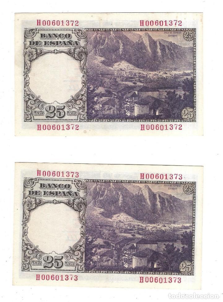 Billetes españoles: LOTE DE DOS BILLETES CORRELATIVOS. BANCO DE ESPAÑA. 25 PESETAS. 1946. FLOREZ ESTRADA. VER. PLANCHA - Foto 2 - 164509942
