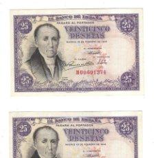 Billetes españoles: LOTE DE DOS BILLETES CORRELATIVOS. BANCO DE ESPAÑA. 25 PESETAS. 1946. FLOREZ ESTRADA. VER. PLANCHA. Lote 164511042