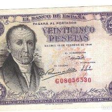 Billetes españoles: BILLETE. BANCO DE ESPAÑA. 25 PESETAS. 1946. FLOREZ ESTRADA. VER.. Lote 164521554