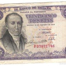 Billetes españoles: BILLETE. BANCO DE ESPAÑA. 25 PESETAS. 1946. FLOREZ ESTRADA. VER.. Lote 164524890