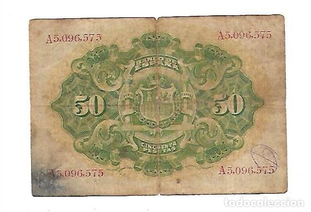 Billetes españoles: BILLETE. SERIE A. 50 PESETAS DE 1906. MADRID. VER DORSO - Foto 2 - 164533018