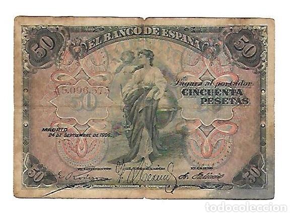 BILLETE. SERIE A. 50 PESETAS DE 1906. MADRID. VER DORSO (Numismática - Notafilia - Billetes Españoles)