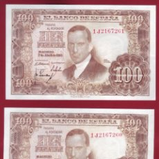 Billetes españoles: DOS BILLETES CORRELATIVOS CIEN PESETAS 7 DE ABRIL DE 1953. Lote 164551894