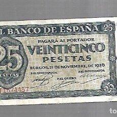 Billetes españoles: BILLETE. 25 PESETAS. BANCO DE ESPAÑA. BURGOS 1936. VER. Lote 164552290