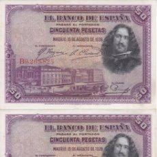 Billetes españoles: TRIO CORRELATIVO DE 50 PESETAS DEL AÑO 1928 DE LA SERIE B EN BUENA CALIDAD (VELAZQUEZ). Lote 164623234