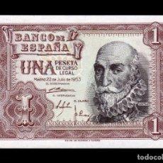 Billetes españoles: ESPAÑA SPAIN 1 PESETA MARQUES DE SANTA CRUZ 1953 PICK 144 SC UNC. Lote 195255085