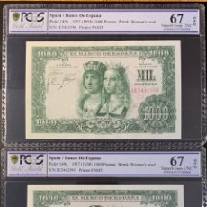 Billetes españoles: PCGS 67 PAREJA CORRELATIVA 1000 PESETAS 1957 PLANCHA LUJO. Lote 165548781