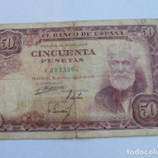 Billetes españoles: BILLETE 50 PESETAS DE 31 DE DICIEMBRE DE 1951 SERIE C, CON ROTURA, VER, SANTIAGO RUSIÑOL. Lote 165550602