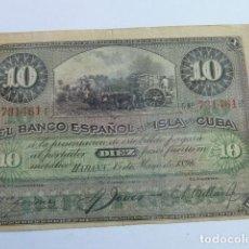 Billetes españoles: BILLETE DE 10 PESOS BANCO ESPAÑOL ISLA DE CUBA 1896 CON RESELLO PLATA. Lote 165553814