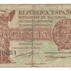 Billetes españoles: BILLETE USADO DE ESPAÑA / BANCO DE ESPAÑA - REPÚBLICA ESPAÑOLA EMISIÓN 1937 - UNA PESETA. Lote 165658506