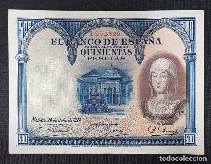 BILLETE 500 PESETAS 1927 ISABEL LA CATOLICA (Numismática - Notafilia - Billetes Españoles)