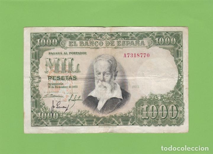 BILLETE 1000 PESETAS BANCO ESPAÑA. JOAQUIN SOROLLA. 1951. MIL MBC. LA FIESTA DEL NARANJO. EL QUIJOTE (Numismática - Notafilia - Billetes Españoles)