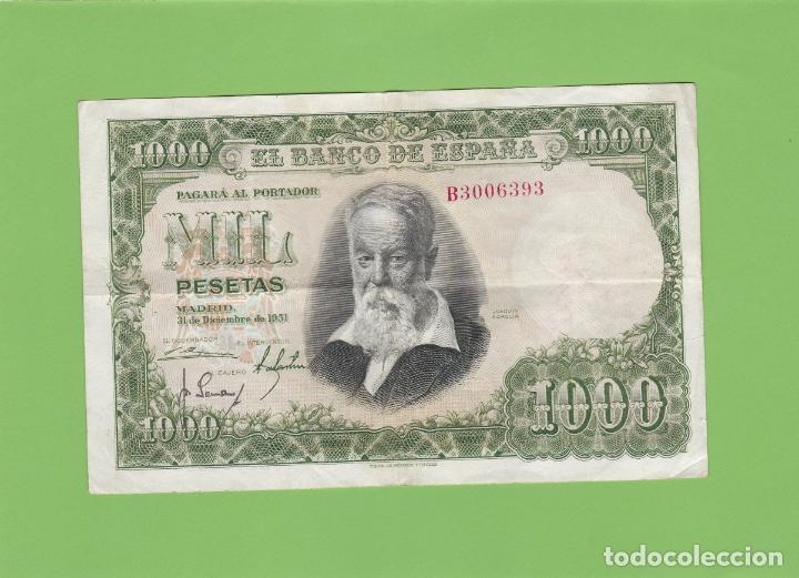 BILLETE 1000 PESETAS BANCO DE ESPAÑA. JOAQUIN SOROLLA. 1951, LA FIESTA DEL NARANJO. EL QUIJOTE. (Numismática - Notafilia - Billetes Españoles)